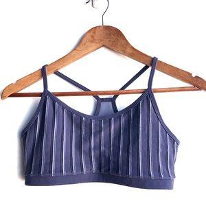 lululemon Flow Y Bra Blue Stripe Size 8
